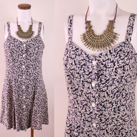 Vintage - 90s - Ivory & Black Floral - Sweetheart - Spaghetti Strap - Button Up - Mini - Short Dress - Grunge Revival
