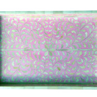 Pink Floral Bone Inlay Serving Tray