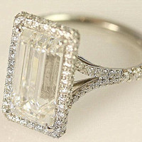 5 Carat Emerald Cut Diamond Ring - Platinum