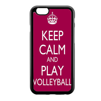 Keep Calm Play On Volleyball Purple iPhone 6 Case