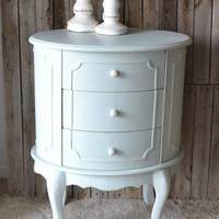 Distressed Shabby Chic Robin's Egg Blue Side / End Table with Drawers