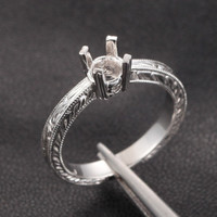 Hand Engraved Art Deco Antique Style 14K White gold Engagement Semi Mount Ring