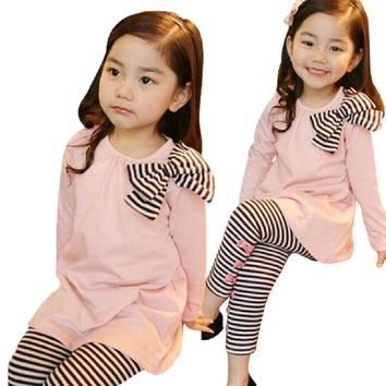 Pink Black Stripes Ribbon Collection Leggings Kid Child Baby Toddler New Born  Long Sleeve And Leggings