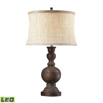 Westbridge Wooden LED Table Lamp With Hand Woven Natural Linen Shade Dark Oak