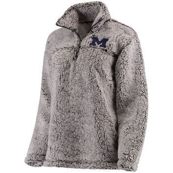 Michigan Wolverines Women's Gray Sherpa Super Soft Quarter-Zip Pullover Jacket