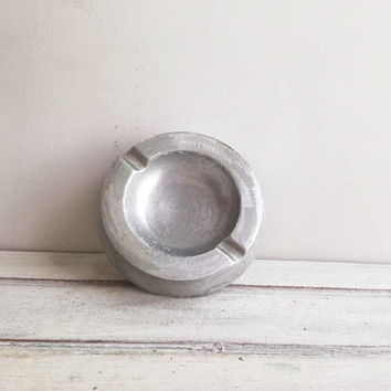 Vintage metal ashtray, vintage aluminum ashtray, silver round, retro plate ashtray with two rests, vintage Greek homewares, early seventies