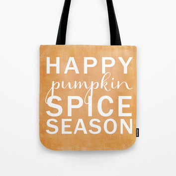 happy pumpkin spice season orange Tote Bag by Sylvia Cook Photography