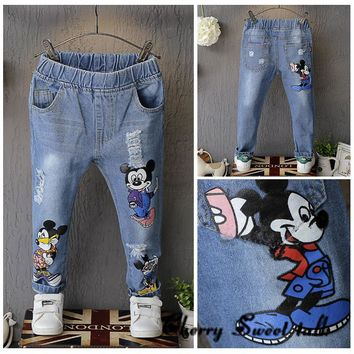 Children's ripped jeans, Child jeans spring fashion girls cartoon hole, skinny pants boys casual long trousers 3 4 5 6 7 years
