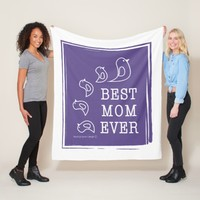 Best Mom Ever - Cute Funny Birds Violet Purple Fleece Blanket