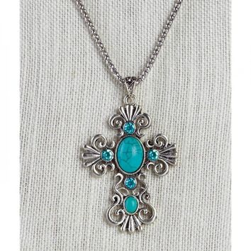 Best beaded turquoise cross necklace products on wanelo turquoise bead cross necklace aloadofball Choice Image