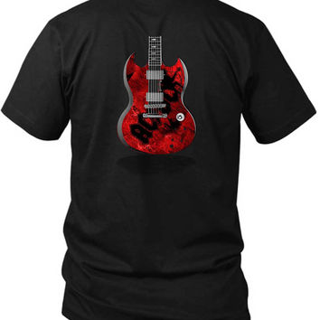 Acdc Guitar Colour 2 Sided Black Mens T Shirt