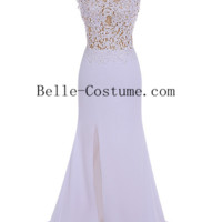 Custom-made White Prom Dress, Lace Prom Dress 2016, White Lace Evening Dress