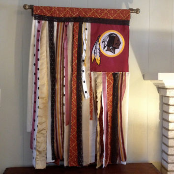 Redskins Football Gypsy Flag - NFL Washington Redskins Inspired Repurposed Wall Fiber OOAK Art - Rustic Novelty Sports Flag