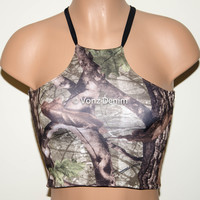 Camo High Neck Crop Top, Spandex Halter Top