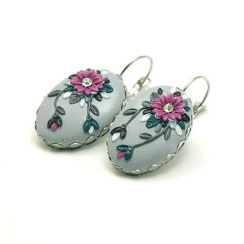 Gray earrings, Cashmere Rose flower, polymer clay