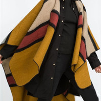 Ginger Color Block Stripe Print Faux Cashmere Cape