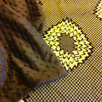African Wax Print Blanket in Brown and Tan with Brown Dot Minky