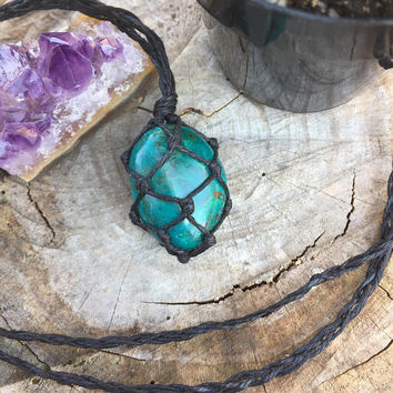 Hemp Necklace: Chrysocolla Stone Wrapped with Hemp Cord, Healing Stone, Hemp Jewelry, Crystal Necklace, Macrame, Chrysocolla