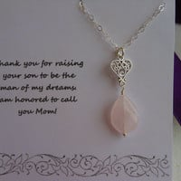 Mother of the Groom Gift, Mother in Law Gift,  Silver Heart Necklace,Thank You Mom, Rose Quartz Necklace, Gifts For Mom, Wedding