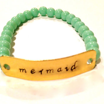 Mermaid Hand Stamped Metal Stamped Stretch Bracelet Seafoam Ocean Jewelry