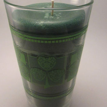 St Patrick's Day Shamrock Glass Candle Holder, Unscented Green Candle, Reusable Glass, 16 ounce, Green or White Wax Candle