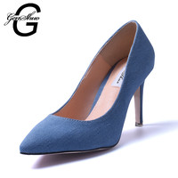 Women Pumps Blue Jean High Heel Shoes Woman Vintage Pointed Toe High Heels Wedding Bridal Shoes Stilettos