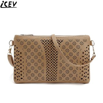 ICEV 2017 summer new fashion hollow women envelope small shoulder bag ladies pu leather cross body clutch long purse and handbag