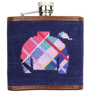 Madras Jockey Jam Needlepoint Flask in Navy by Smathers & Branson