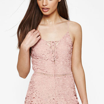 Kendall & Kylie Crochet Lace-Up Romper at PacSun.com