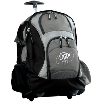 Embroidered Cloud White OBX Lyfe Port Authority Wheeled Backpack