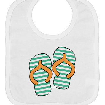 Striped Flip Flops - Teal and Orange Baby Bib