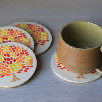 Handmade Ceramic Coasters with Autumn Tree Design and Cork Backing - House Warming Gift - Set of Four