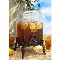 Paris Hammered Glass Beverage Dispenser with Stand 2-1/2 Gallon
