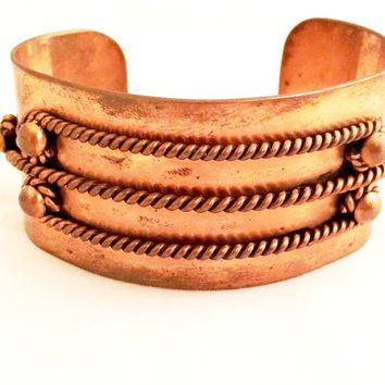 Dio Hoffmando Vintage Jewelry Copper Bracelet Adjustable Cuff