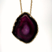 Agate Stone Geode Statement Necklace. Nebula