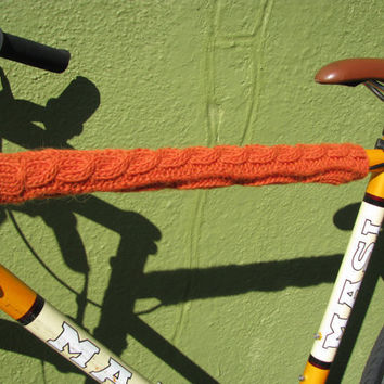Bike Cozy Orange Aplaca Blend Cable Knit by GretaHoneycutt