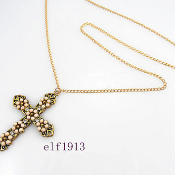 Classic Cross gold  necklace ,Rhinestone Cross sweater necklace. Birthday  friends gifts. Autumn Edition fashion trends