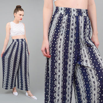 Vintage 90s Pants Tribal Striped Pants - Polka Dot Pants - Accordion Pleated Trousers - High Waist Wide Leg Trousers Navy White Small XS S