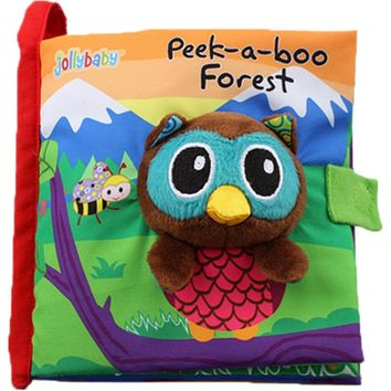 """""""Peek-a-boo Forest"""" Soft Cloth Baby Book - Rustle Sound Infant Educational Stroller Rattle Toy"""