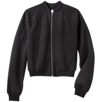 Xhilaration® Juniors Quilted Bomber Jacket - Black