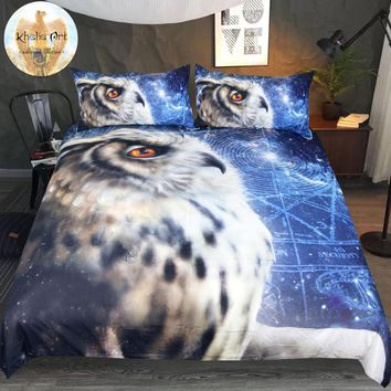 Time Traveler Owl by KhaliaArt Bedding Set 3D Printed Duvet Cover Set Queen Look Up Galaxy Bed Cover 3-Piece Ponder Bedclothes