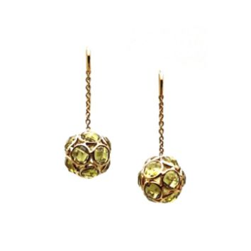 Tresor Collection - Peridot Ball Earrings In 18K Yellow Gold