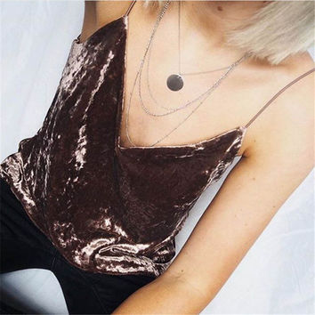 2016 Women Sleeveless Tank Tops Fashion Sexy Autumn Winter Female V-Neck Velvet Camisole Female Girls Spaghetti Strap Camis Pink