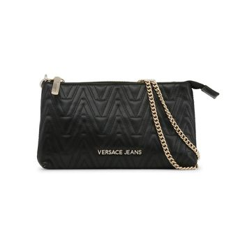 Black Vegan Leather Versace Jeans Clutch Bag Purse