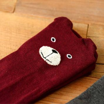 Adorable Teddy Bear Animal Themed Over the Knee Thigh High Cotton Socks in Maroon Red