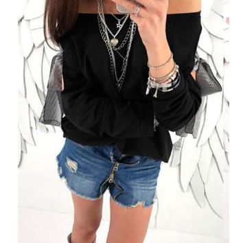 New Black Plain Cut Out Boat Neck Casual T-Shirt