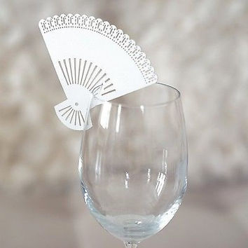 20 White Paper Fans Wedding Place Card Holder Glass Favor Laser Cut Name Card