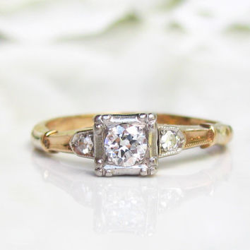 Art Deco Engagement Ring 0.28ctw Transitional Cut Diamond Wedding Ring 14K Yellow Gold Palladium Antique Engagement Ring Size 6