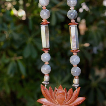 On Sale Carved Lotus Necklace Indonesian Rosewood Flower with Labradorite Mother of Pearl and Sunstone Bali Eternity Lotus Ethnic Jewelr