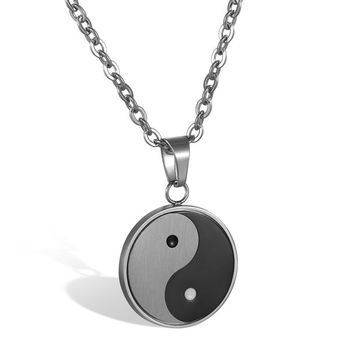 SHIPS FROM USA 2017 New Stainless Steel Yin Yang Pendant Necklace Black White Necklace Men Necklaces Jewelry Fashion Erkek Kolye